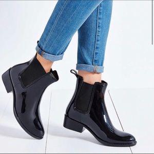 Jeffery Campbell Ankle Rain Booties Shiny Black 7